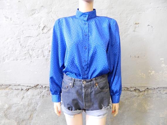 70s blouse blue/vintage blouse/oversize shirt/1970s shirt wide