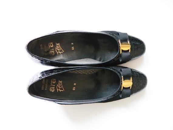 Macaw pumps / 70s pumps /70s shoes / vintage shoes leather / 1970s pumps / black pumps