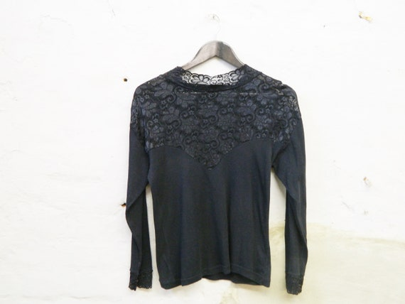 80s shirt black lace/vintage lace/t-shirt black/vintage sweater/80s top cotton