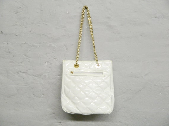 Paint bag quilted, 80s bag/bag necklace/quilted vintage bag/vintage shopper white/1980s bag