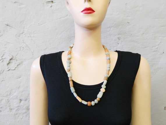 80s chain clay/pearl necklace vintage/chain of clay/chain handmade clay