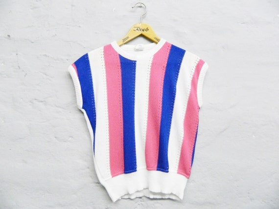 Short-sleeve pulli/vintage sweater/70s sweater/vintage top striped/1970s top