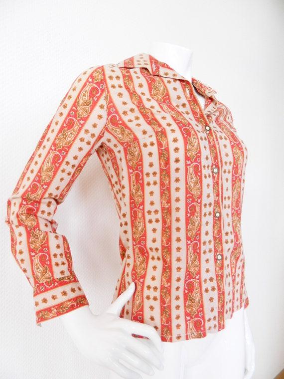 Costume blouse/vintage blouse/dirndl blouse/blouse Patterned/1970 's Blouse/70s blouse