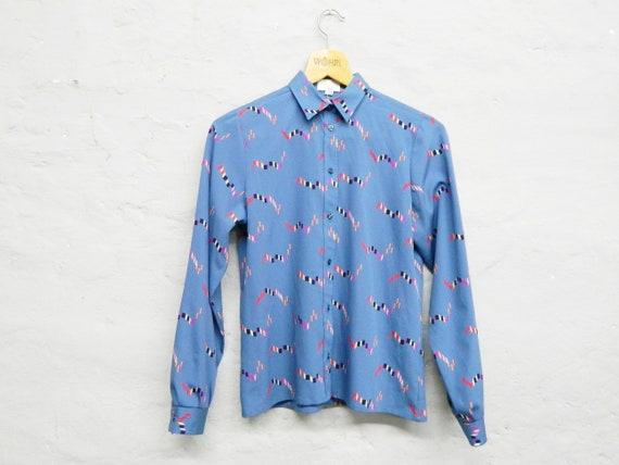70s Blouse/vintage Blouse blue/Long Sleeve Blouse/1970s Blouse blue/70s clothing