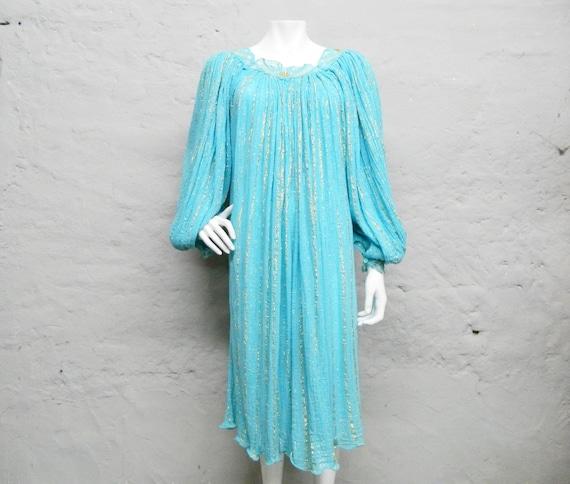 Oversize dress/dress Hollywood/dress turquoise gold/197es dress/wide dress