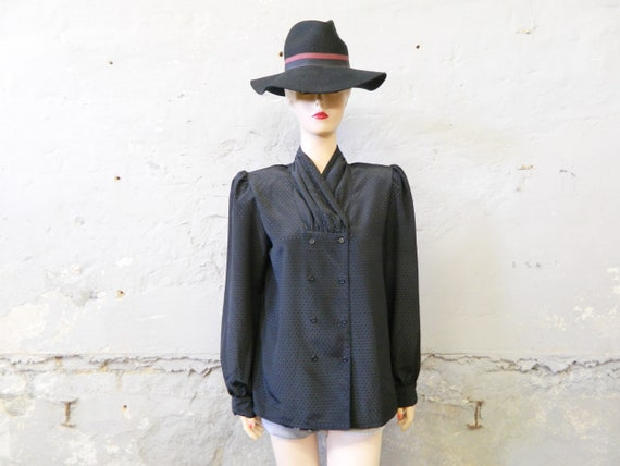 70s blouse/blouse black/vintage top/black blouse wide shoulders