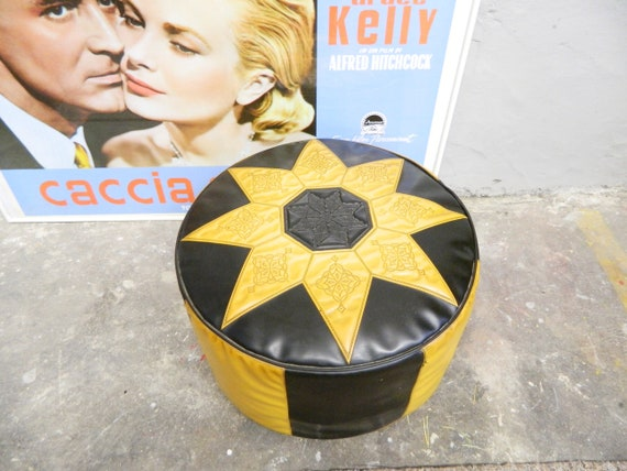 Cult Seat Pouf/70s stool/vintage pouf/faux leather stool/stool round/seat cushions