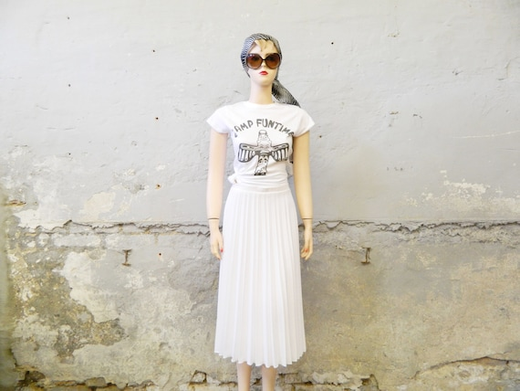 Plisseerock/70s skirt/pleated skirt white/pleated skirt/long skirt