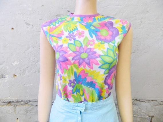 70s Top/vintage Top/Shirt Colorful/Neon Colors/Vintage Top Flower Power