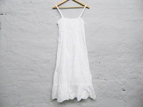 1980s dress/vintage dress white/romantic dress/dress romance/garden dress/boho dress embroidered
