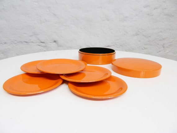 70s Cosame/orange Plastic/glass Cup Coaster/Table/Drinks Tray