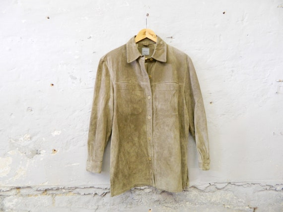 80s leather jacket green/suede jacket/vinatge jacket leather olive/Montego leather