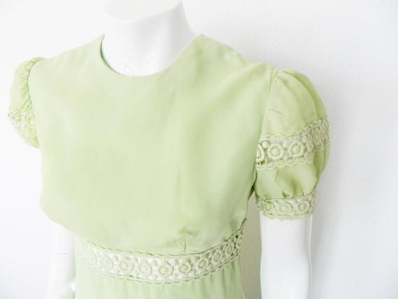 70s Princess dress/elegant evening dress/70s dress/maxi dress/Vintage dress green/70s maxi dress
