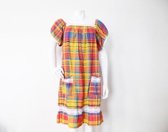 70s dress/plaid dress/dress checkered/Vintage dress/1970 's dress/dress plaid/vintage dress/dress Cotton