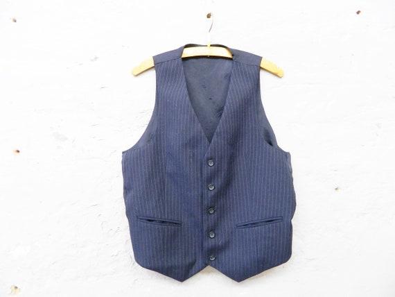 Needle stripe vest/vest blue/men's vest/70s vest men/vintage top