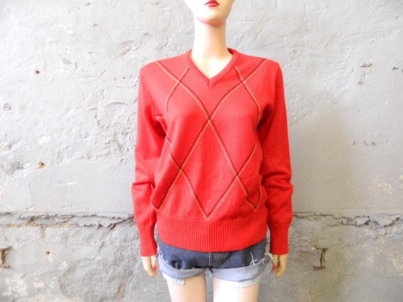 70s sweater/vintage sweater red/V sweater/diamond sweater