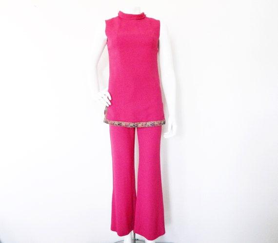 70s pants suit/suit/vinatge trousers tunic/vintage trousers tunic/trousers Red/1970 's Pantsuit