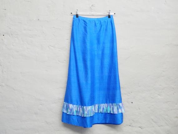 70s Skirt/blue Maxirock/vintage Skirt/Maxi Skirt/Long Skirt