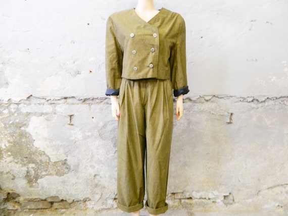 80s pants and jacket / pperbag pants / green trous