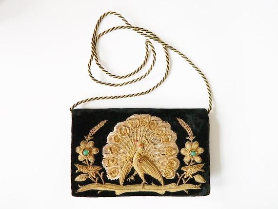 Peacock bag / 70s evening bag / velvet bag / 1970s bag / vontage pocket / evening bag / little bag / party bag