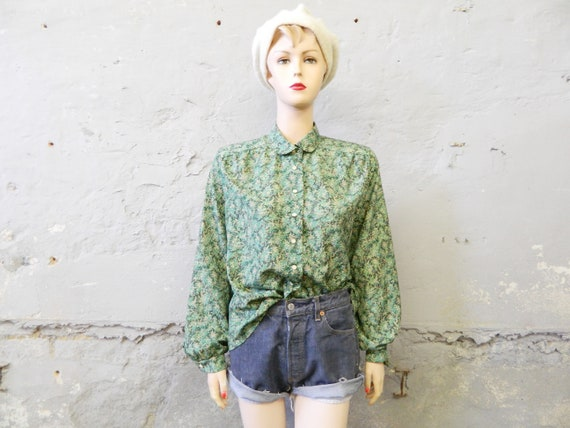70s blouse/vintage blouse green/top/wide shirt