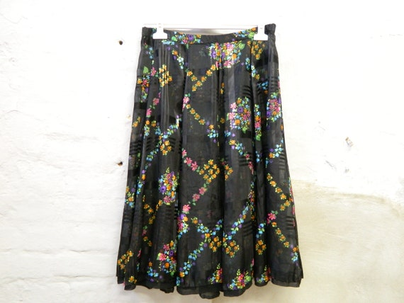 60s skirt/skirt patterned/wide skirt/vintage skirt black/street-style skirt