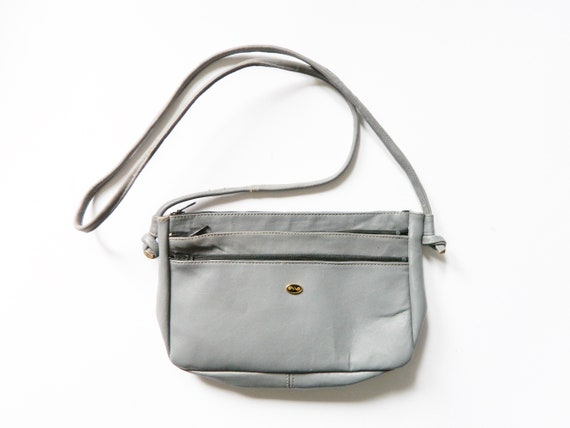 Handbag with Purse/vintage bag grey/70s bag/shoulder bag/pocket synthetic leather 1970 's Bag