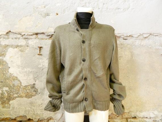 Kenzo sweater men / 90s jacket / sweater green XL / vintage knit sweater / cardigan