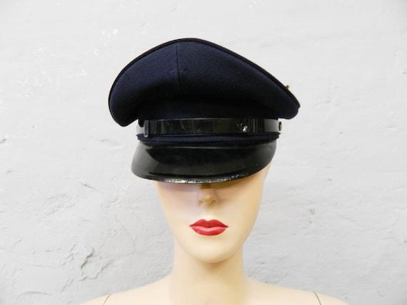 Vintage cap/sheepskin cap/70s cap/vintage cap blue/hat