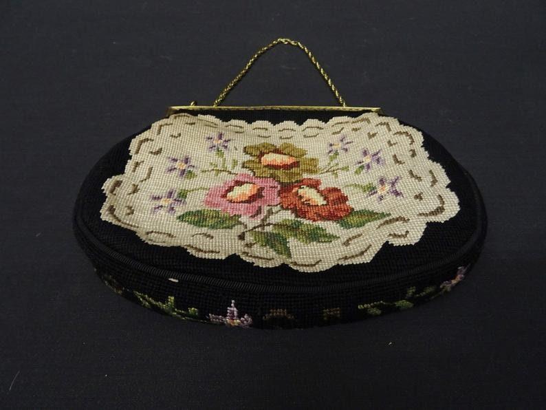 Tapestry bag  gobelin bag  vintage bag evening bag  40s bag  1940s bag  embroidered bag  small handbag