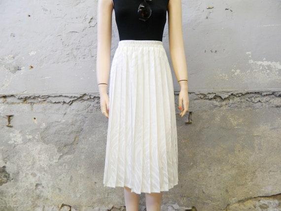 Plissee skirt/pleated skirt/vintage skirt white/70s skirt/midi skirt interchic