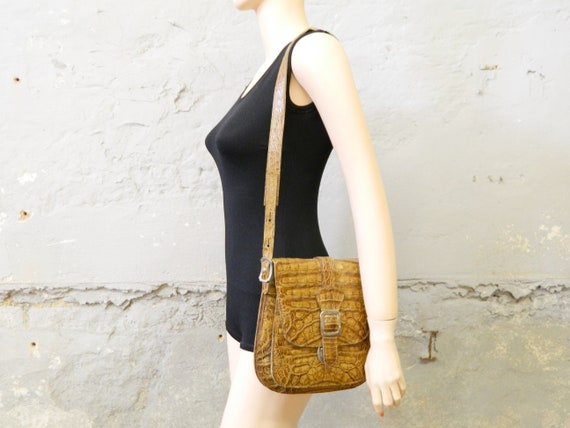 Vintage Bag Leather/60s Bag Kroko/70s Handbag Brown/Brown Bag