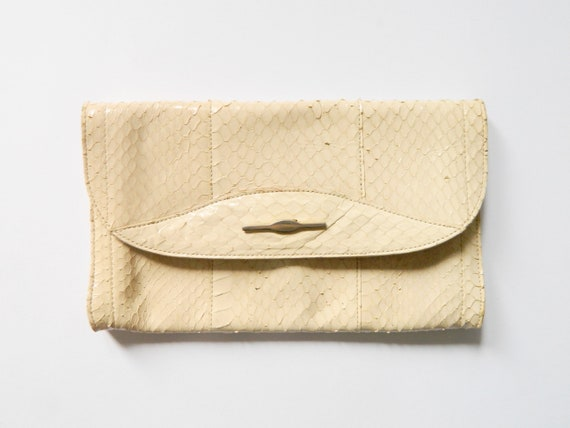 70s clutch leather/leather bag beige/vintage clutch leather/bag beige/1070s Bag
