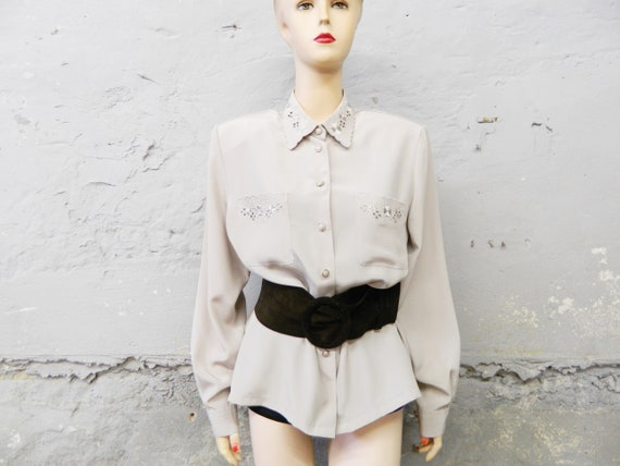 Vintage blouse/blouse embroidered/70s shirt/oversize blouse