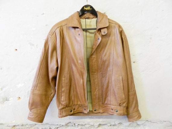 80s leather jacket Angelo Litrico / vintage leather jacket men / men's jacket / blouson