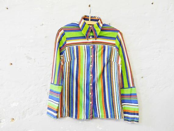 70s blouse / blouse striped / colorful blouse / vintage blouse / 1970s top