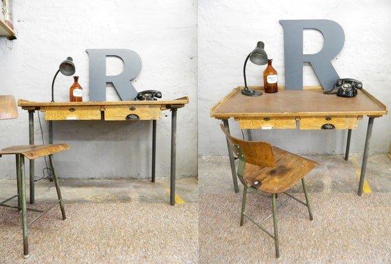 Industrial table/worktable/vintage table industrial/workbench/desk art deco