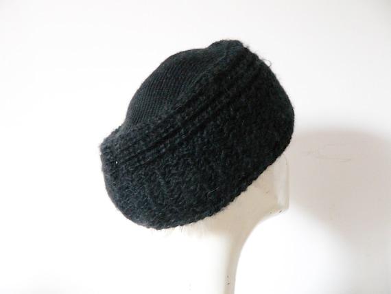Wool cap black/70s cap/vintage wool cap/beanie black/vintage cap/vintage wool hat Black