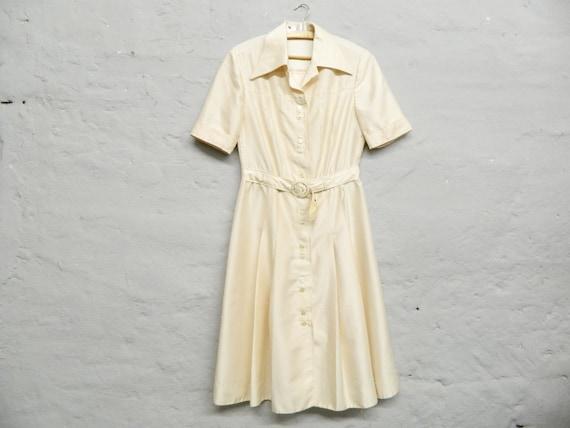 70s dress/vintage dress/dress beige/casual dress/dress with belt beige/1970s dress