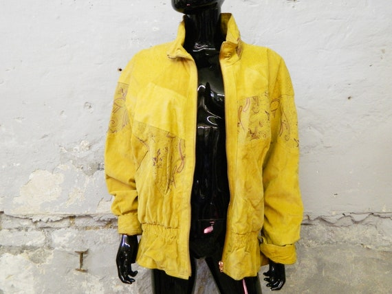1980s leather jacket yellow ladies L / ladies jack