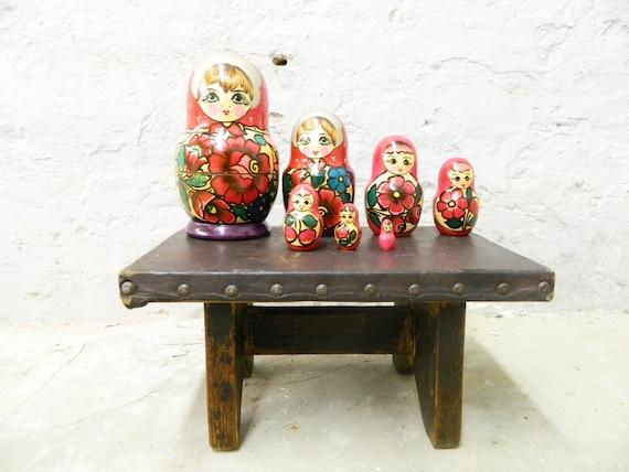 Babushka Wood 60s/Matryoschka Dolls/Wood Dolls 7tlg. /60s decoration/vintage doll