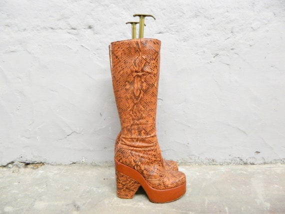 70s Boots 5.5/vintage Boots/Plateau Boots/Raver/Boots Snake