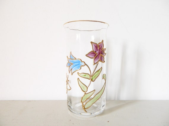 Tiffany Vase glass vase/Vintage vase/vase hand painted floral motif/vase nail 60s/1960 's Vase