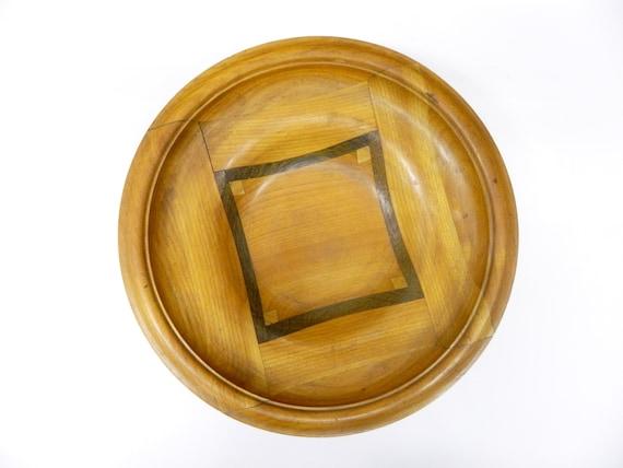 Teak bowl/fruit bowl wood/vintage wooden plate intarsia/60s plate handmade/bowl wood