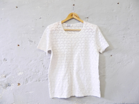 80s shirt/oversize/vinatge shirt white/Lochstick pattern top/wide T-shirt