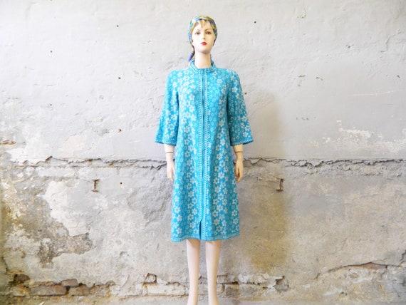 House dress/vintage dress/60s dress blue white/dress zipper/morning coat