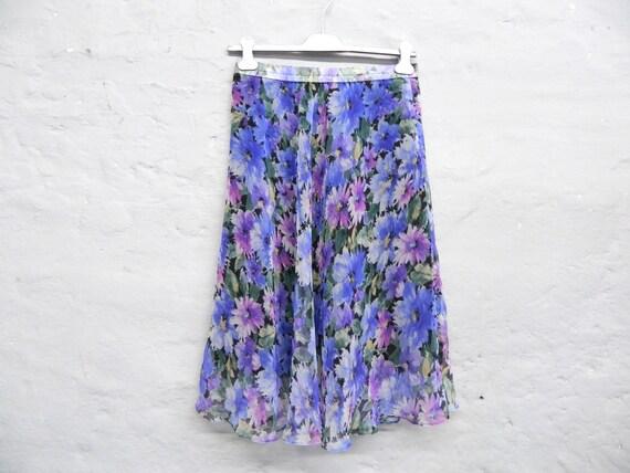 70s skirt/vintage skirt/midi skirt/summer skirt/skirt purple blue/floral skirt