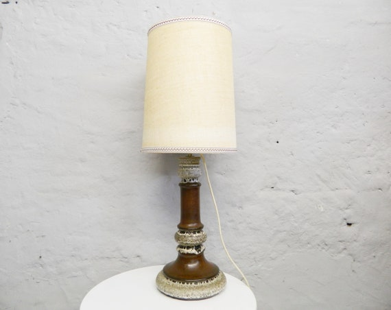XXL Lamp/Large Table Lamp/Fat Lava/Ceramic Lamp 1960 Germany/vintage Lamp Brown