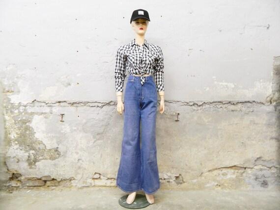 70s jeans/punch jeans/vintage pants/1970s pants blue/high waist