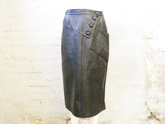 Leather skirt black/80s skirt leather black/vintage leather skirt/skirt vintage/long skirt